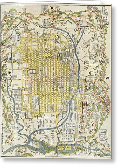Not In Use Greeting Cards - 1696 Genroku 9 early Edo Japanese Map of Kyoto Japan Greeting Card by Paul Fearn