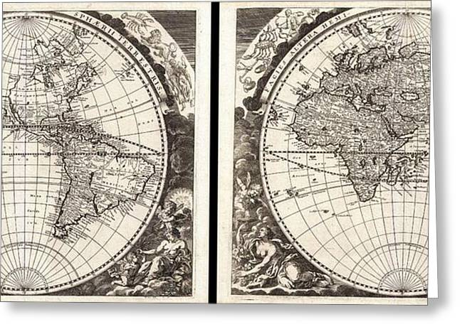 Inland Bodies Of Water Greeting Cards - 1696 Zahn Map of the World in Two Hemispheres Greeting Card by Paul Fearn