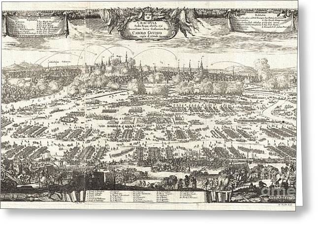 Rare Moments Greeting Cards - 1697 Pufendorf View of Krakow Cracow Poland Greeting Card by Paul Fearn
