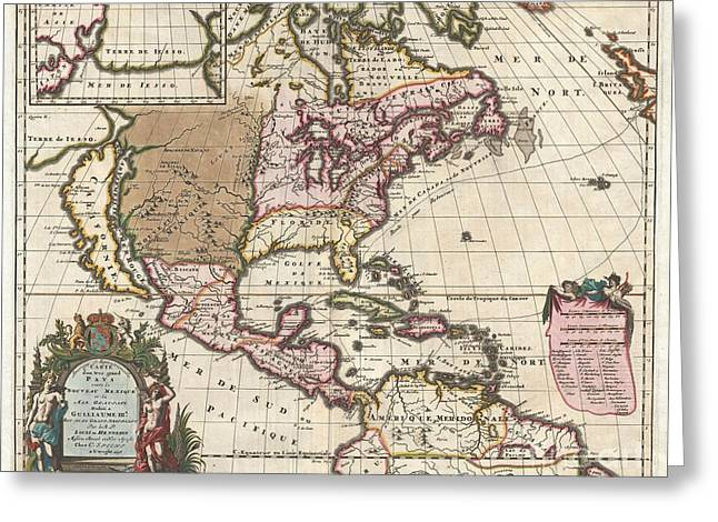 1698 Louis Hennepin Map of North America Greeting Card by Paul Fearn
