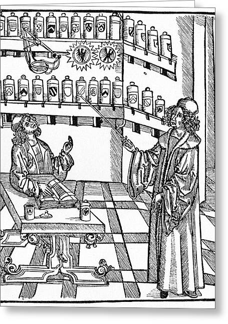 16th Century German Pharmacy School Greeting Card by Cci Archives