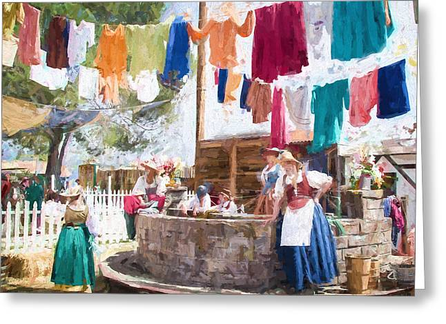 Ike Krieger Greeting Cards - 16th Century Washday Greeting Card by Ike Krieger