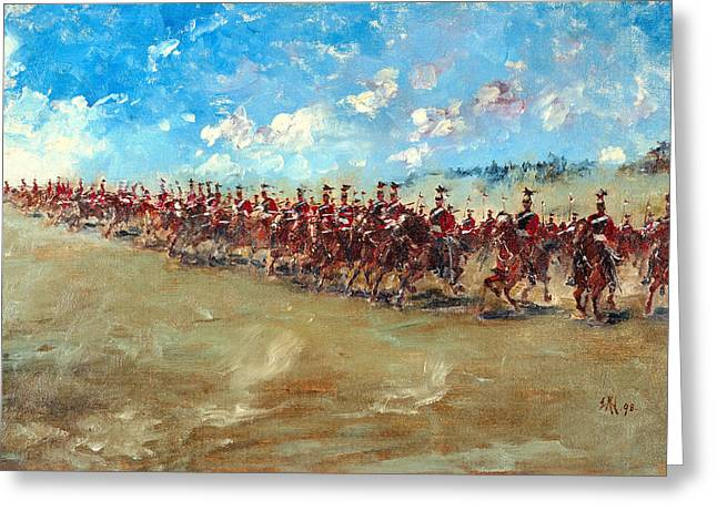 Troops Greeting Cards - 16th Lancers Advancing At A Gallop, 1898 Greeting Card by Edward Matthew Hale