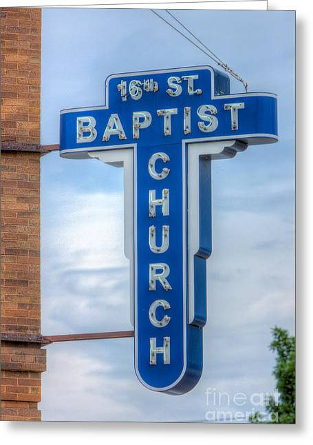 Civil Rights Greeting Cards - 16th Street Baptist Church Sign I Greeting Card by Clarence Holmes