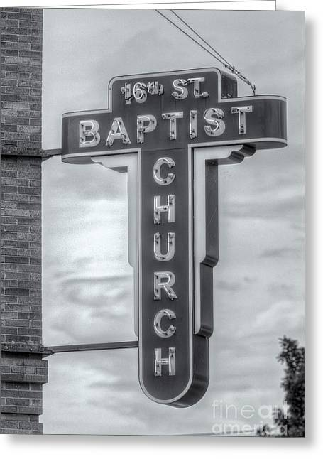 Civil Rights Greeting Cards - 16th Street Baptist Church Sign II Greeting Card by Clarence Holmes