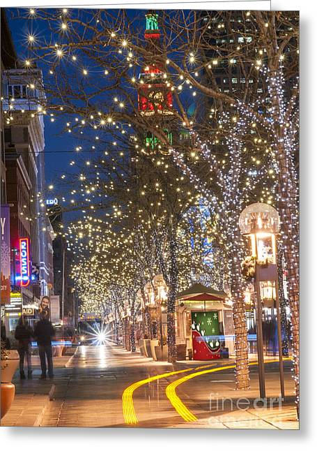 Yuletide Greeting Cards - 16th Street Mall in Denver Holiday Time Greeting Card by Juli Scalzi