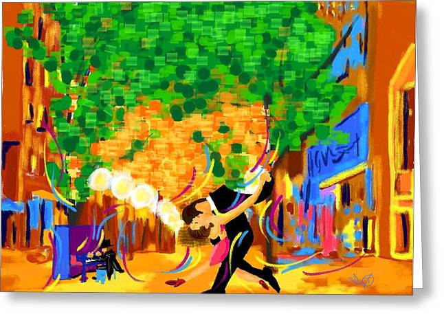 16th Street Mall Greeting Cards - 16th Street Tango Greeting Card by Ianoty Art