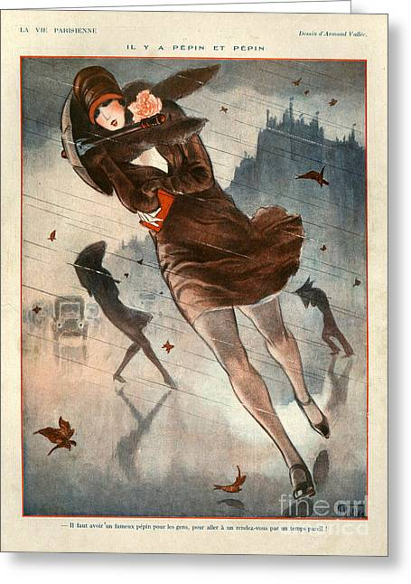 Winter Storm Drawings Greeting Cards - 1920s France La Vie Parisienne Greeting Card by The Advertising Archives