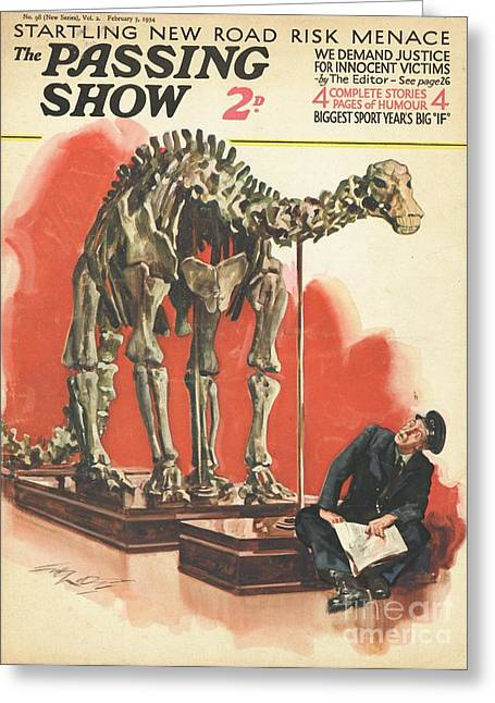 Dinosaurs Drawings Greeting Cards - 1930s,uk,the Passing Show,magazine Cover Greeting Card by The Advertising Archives