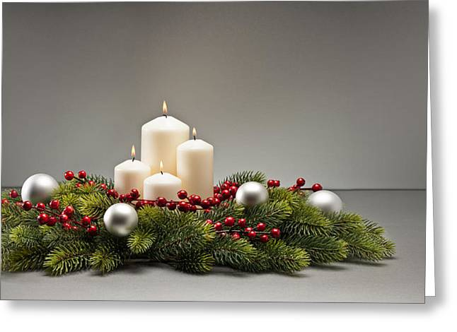 Pine Cones Greeting Cards - Advent wreath Greeting Card by Ulrich Schade