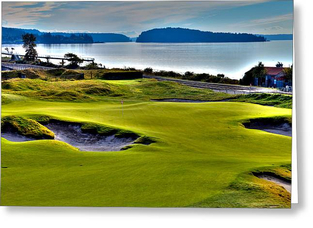 Us Open Greeting Cards - #17 at Chambers Bay Golf Course - Location of the 2015 U.S. Open Championship Greeting Card by David Patterson
