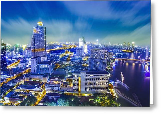 Office Space Greeting Cards - Bangkok city night view Greeting Card by Anek Suwannaphoom