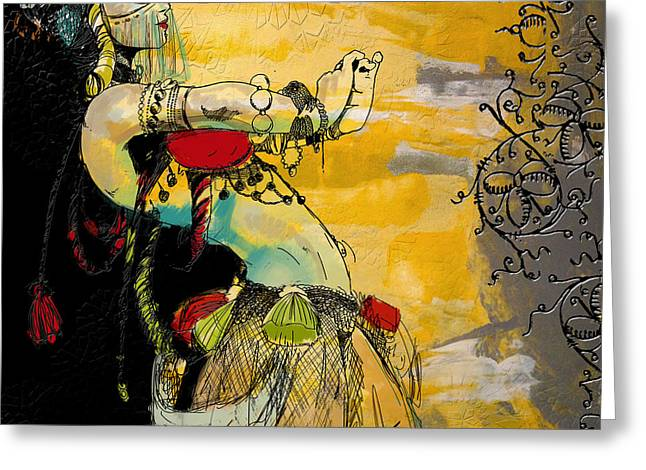 Dancer Art Greeting Cards - Abstract Belly Dancer 9 Greeting Card by Corporate Art Task Force