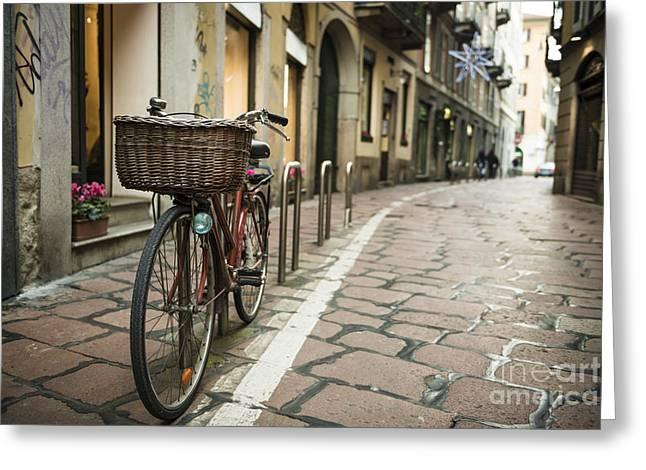 Street In Milan Greeting Cards - Bicycle Greeting Card by Mats Silvan