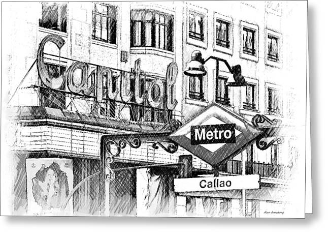 Madrid Greeting Cards - 17 Callao Metro Madrid Greeting Card by Alan Armstrong