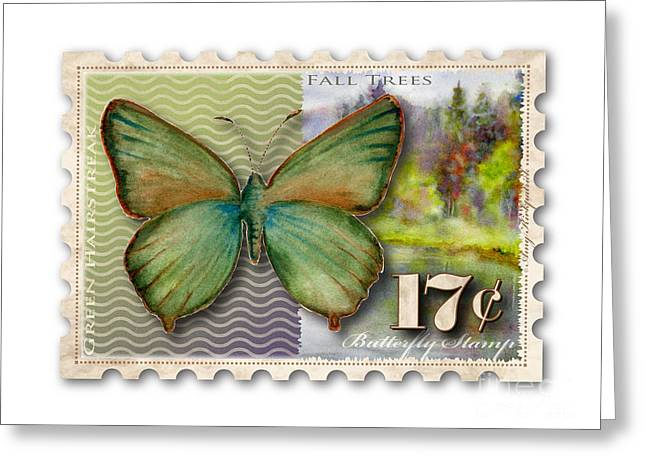 Butterflies Paintings Greeting Cards - 17 Cent Butterfly Stamp Greeting Card by Amy Kirkpatrick