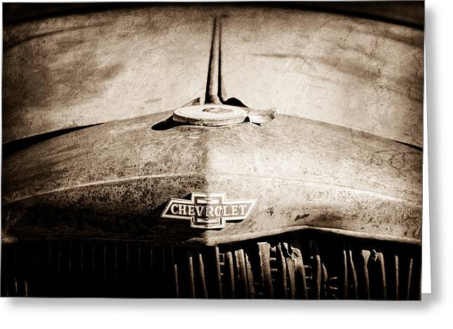 Rusty Car Greeting Cards - Chevrolet Grille Emblem Greeting Card by Jill Reger