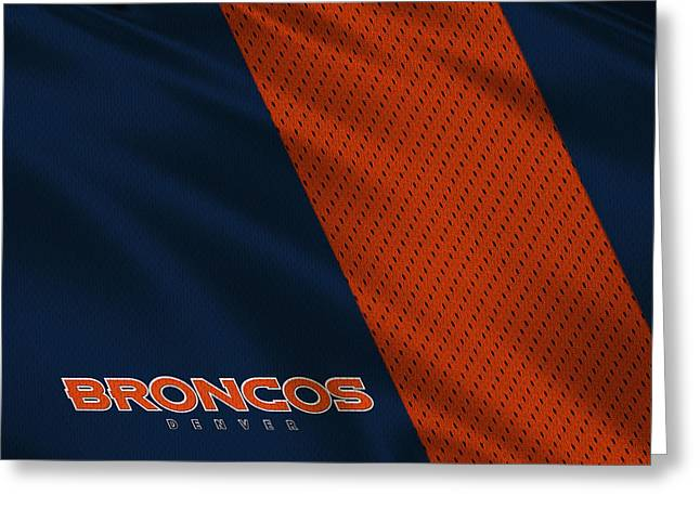 Broncos Greeting Cards - Denver Broncos Uniform Greeting Card by Joe Hamilton