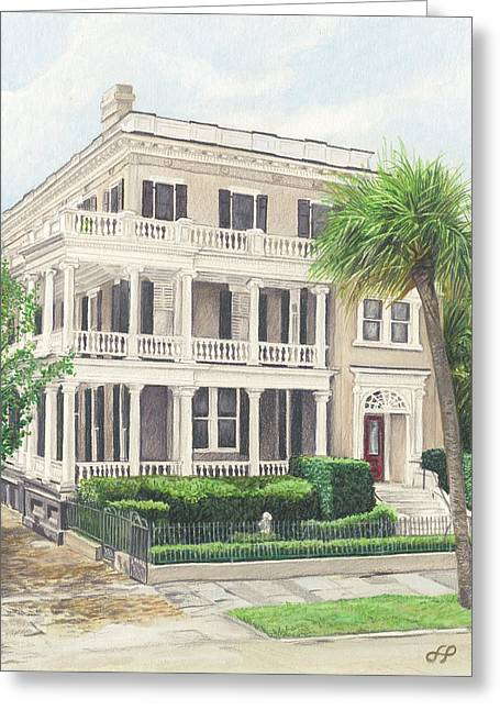 Charleston Drawings Greeting Cards - 17 East Battery Greeting Card by Stephen Paul Herchak