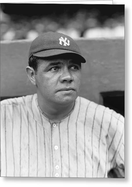 The Ball Greeting Cards - George H. Babe Ruth Greeting Card by Retro Images Archive