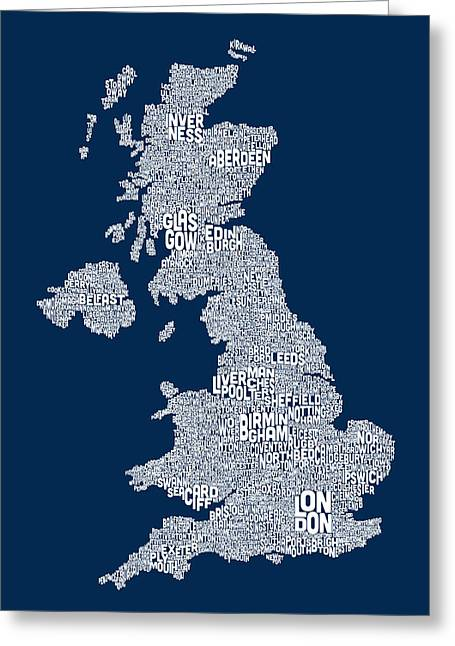 Map Greeting Cards - Great Britain UK City Text Map Greeting Card by Michael Tompsett