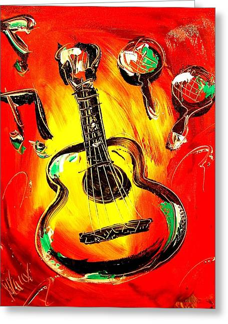 Confederate Monument Paintings Greeting Cards - Guitar Greeting Card by Mark Kazav
