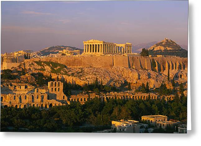Athens Ruins Greeting Cards - High Angle View Of Buildings In A City Greeting Card by Panoramic Images