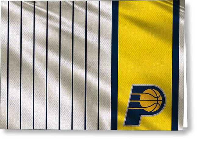 Dunk Greeting Cards - Indiana Pacers Uniform Greeting Card by Joe Hamilton