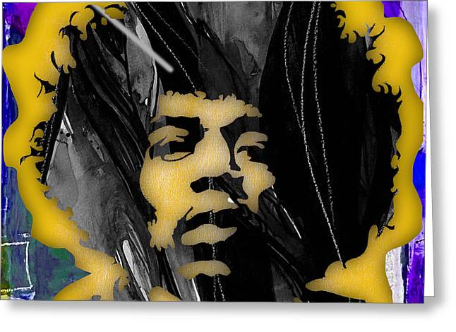 Cool Art Greeting Cards - Jimi Hendrix Collection Greeting Card by Marvin Blaine