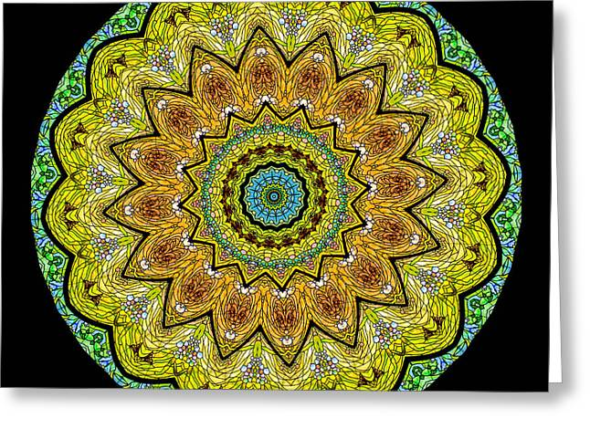 Mint Green Greeting Cards - Kaleidoscope Stained Glass Window Series Greeting Card by Amy Cicconi