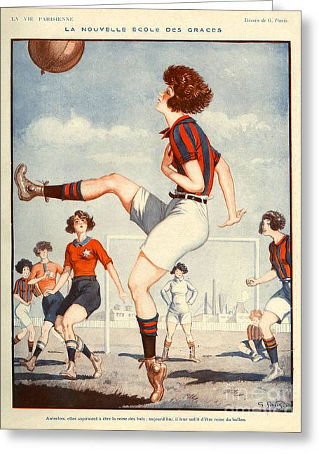 Soccer Drawings Greeting Cards - La Vie Parisienne  1922 1920s France Greeting Card by The Advertising Archives