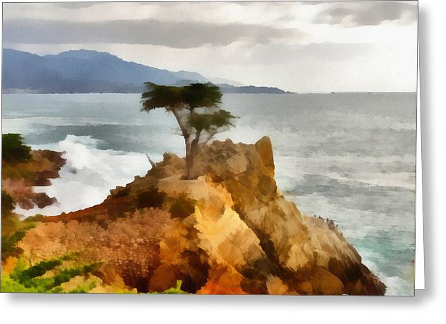 Scenes Of Pebble Beach Greeting Cards - 17 Mile Drive Lone Cypress Greeting Card by Barbara Snyder