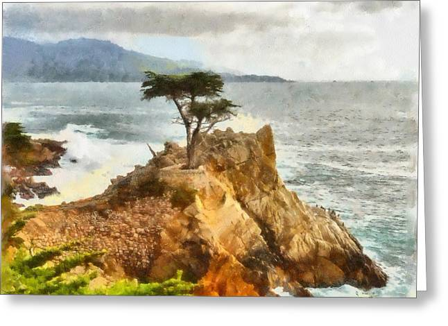 Central Coast Of California Greeting Cards - 17 Mile Drive Lone Cypress Watercolor Greeting Card by Barbara Snyder