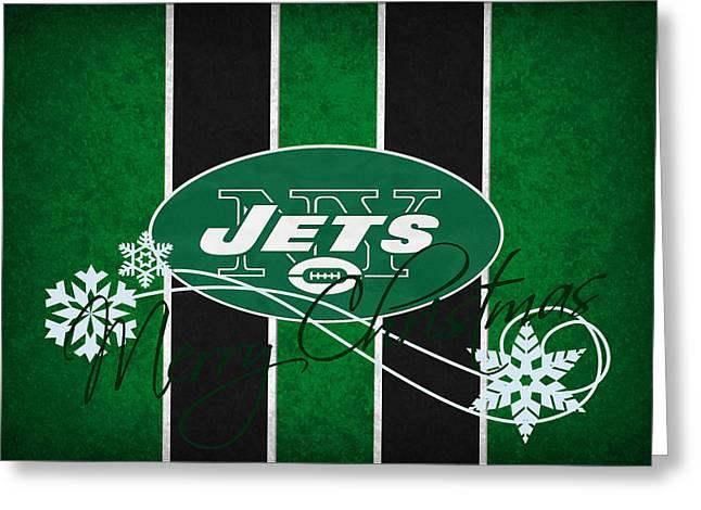 Jet Greeting Cards - New York Jets Greeting Card by Joe Hamilton