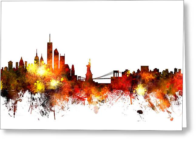 United States Greeting Cards - New York Skyline Greeting Card by Michael Tompsett