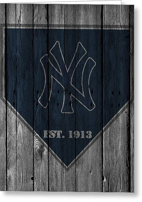 Glove Ball Greeting Cards - New York Yankees Greeting Card by Joe Hamilton