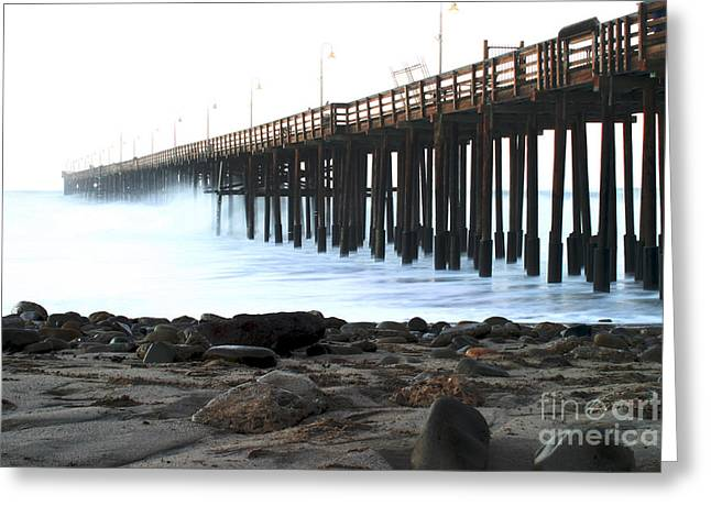 Windy Pastels Greeting Cards - Ocean Wave Storm Pier Greeting Card by Henrik Lehnerer