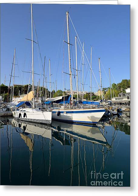 Europe Greeting Cards - Reflections in Mikrolimano port Greeting Card by George Atsametakis