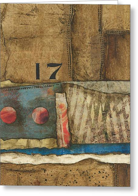 Abstract Collage Greeting Cards - 17 Straights in the River Greeting Card by Laura  Lein-Svencner