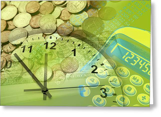 Profit Greeting Cards - Time is money  Greeting Card by Les Cunliffe