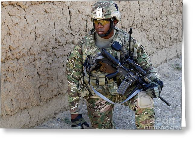 Operation Enduring Freedom Greeting Cards - U.s. Army Soldier Provides Security Greeting Card by Stocktrek Images