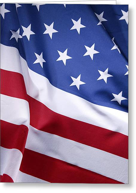 Flag Colors Greeting Cards - USA flag Greeting Card by Les Cunliffe
