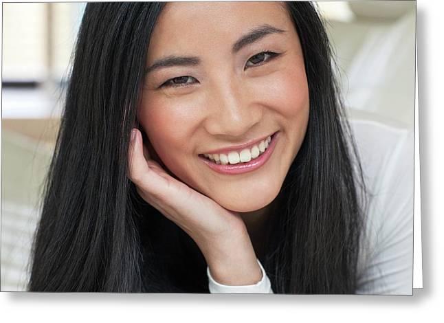 Woman Smiling Greeting Card by Ian Hooton