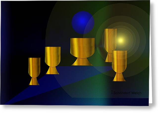 Goblet Digital Art Greeting Cards - 170 - Golden Goblets  ... Greeting Card by Irmgard Schoendorf Welch
