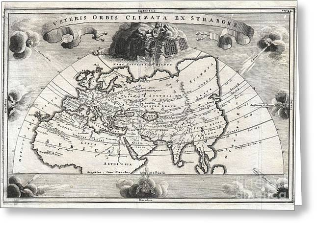 Correspond With Greeting Cards - 1700 Cellarius Map of Asia Europe and Africa according to Strabo Greeting Card by Paul Fearn