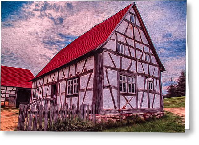 Witkowski Greeting Cards - 1700s German Farm Greeting Card by Omaste Witkowski