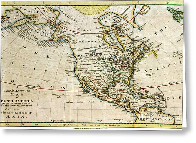 1770s Greeting Cards - 1700s Map of North America Greeting Card by Maria Hunt