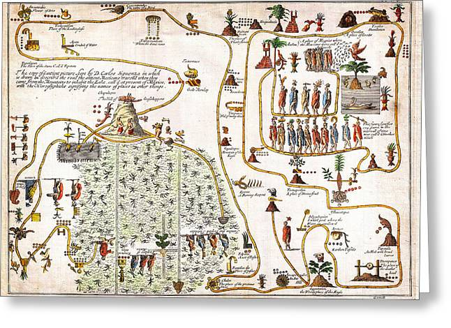1704 Greeting Cards - 1704 Gemelli Map of the Aztec Migration from Aztlan to Chapultapec Greeting Card by Celestial Images