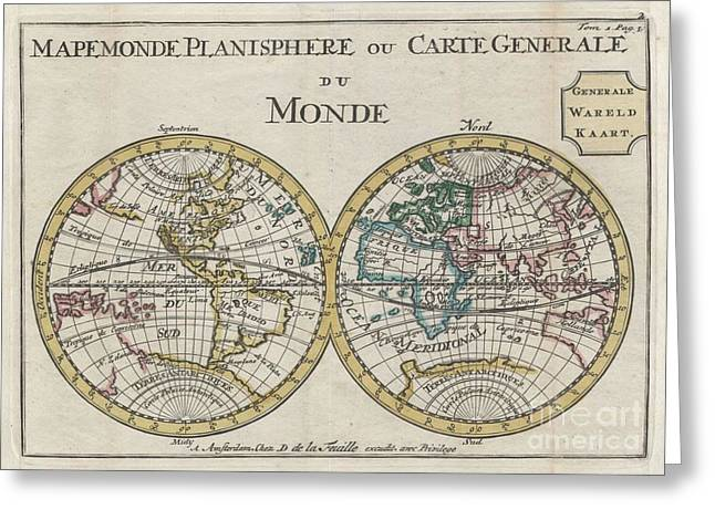 Though Blank Greeting Cards - 1706 de La Feuille Map of the World on Hemisphere Projection Greeting Card by Paul Fearn