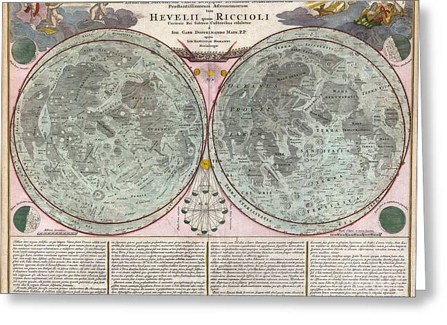 Neil Armstrong The Moon Greeting Cards - 1707 Homann and Doppelmayr Map of the Moon  Greeting Card by Paul Fearn
